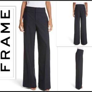 FRAME Navy Wool Slacks Pants Wide Leg NWT $375 S 2